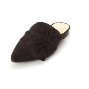Bar III Black Suede Bow Mules